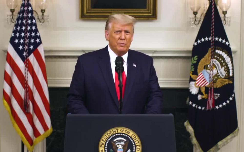 """美國總統特朗普在白宮發表""""任內最重要的演講"""""""