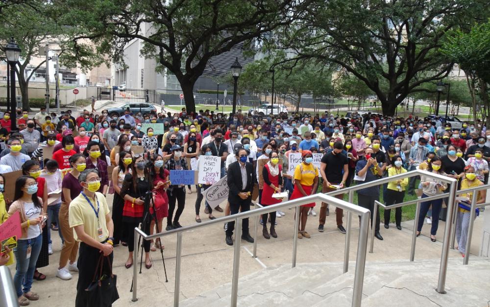 德州醫學中心上周五舉行反亞裔歧視集會