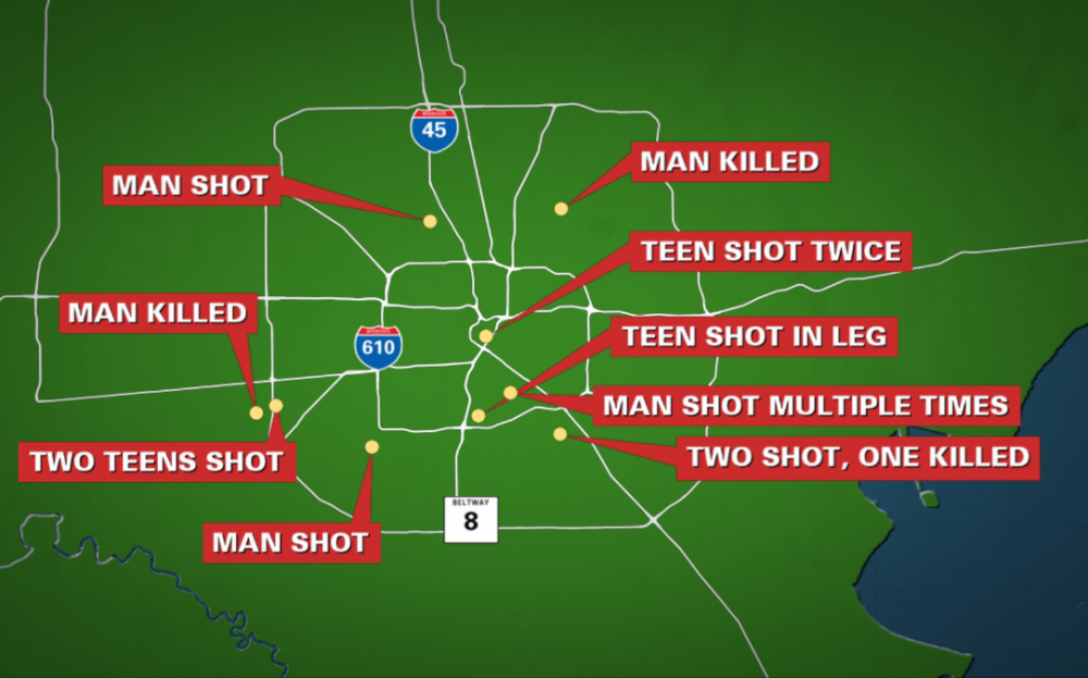 周末枪案频传,休斯顿警方:週六晚11人遭射,2人被杀