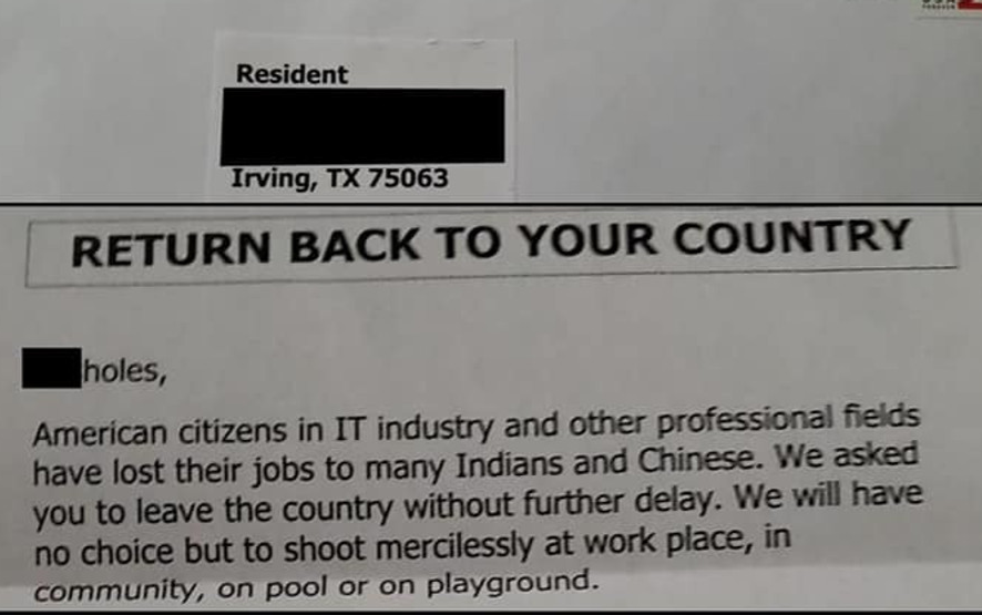 德州Irving收到针对亚裔死亡威胁,信称:「滚回你的国家」