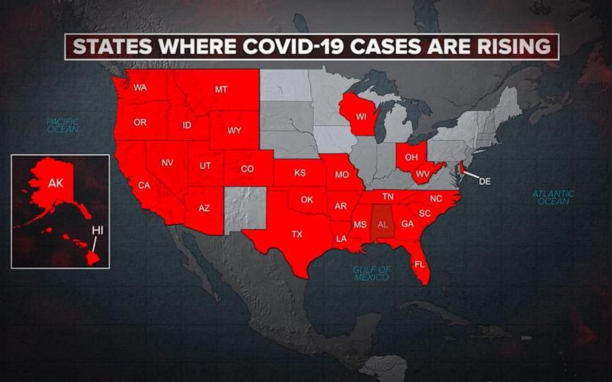 美國冠狀病毒病例單日首次超過4萬例,創單日新高記錄