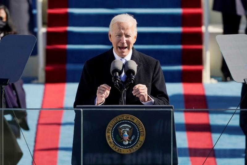 拜登的就職演說長約21分鐘,比過往多名總統的演說時間較為短。(Reuters)