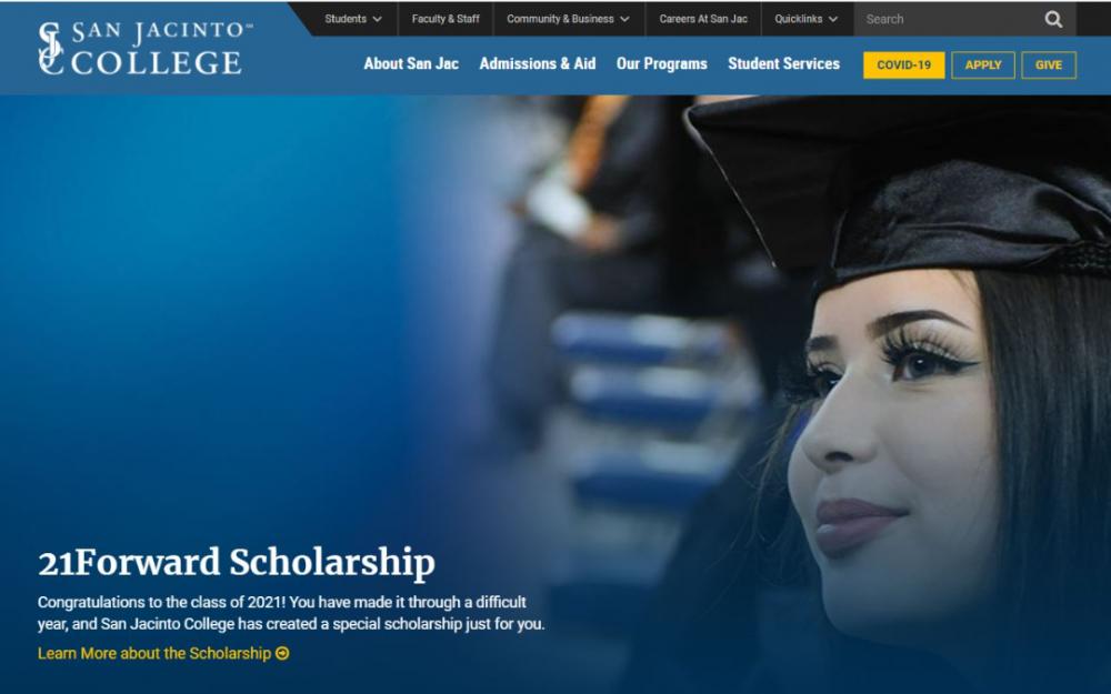 San Jacinto 社區大學提供免學費優惠給2021年畢業生
