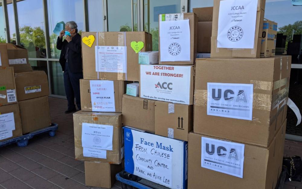 斯坦福市物資募捐,募得7個貨盤物資給前線人員