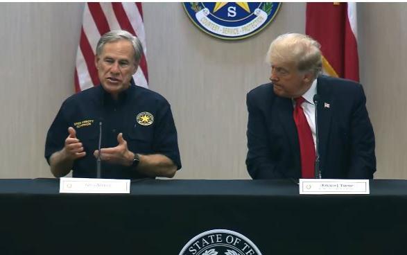 德州州长艾伯特、川普共同访问德墨边境