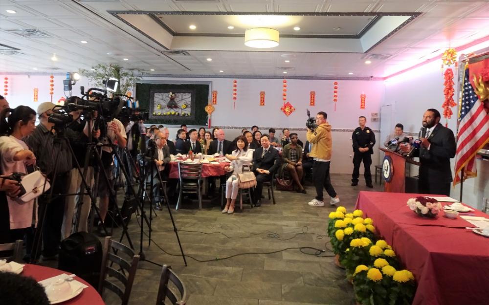 國會議員Al Green和蔡偉總領事共同舉行記者會 消除新冠肺炎疑慮及對中國城商貿的負面影響
